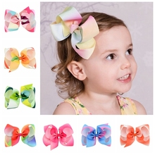 12pcs/lot 6 Inch New Rainbow Grosgrain Ribbon Bow With Hair Clip Kids Cartoon Boutique Gradient Hair Accessories 723(China)