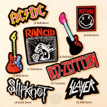8pcs/lot Slipknot NIRVANA AC/DC DIY ZEPPLIN BAND Badges Embroidery Patch Applique Ironing Clothing Sewing Supplies Decorative