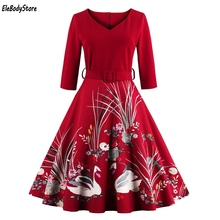 EleBodyStore Vintage Dress Summer 2017 Women Vestidos Dresses Casual Retro Party 50s 60s Swan Print Clothing Black Red Blue 4XL