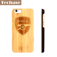 Techase Wooden Phone Cases For Arsenal Anti-knock Bamboo Cover For iPhone 5 5s se 6 6plus 6s 6splus 7 7plus Case For Inter Milan(China)