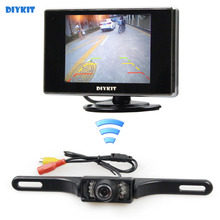 DIYKIT Wireless 3.5 inch TFT LCD Car Monitor Rear View Kit Reversing IR Camera Parking Assistance System
