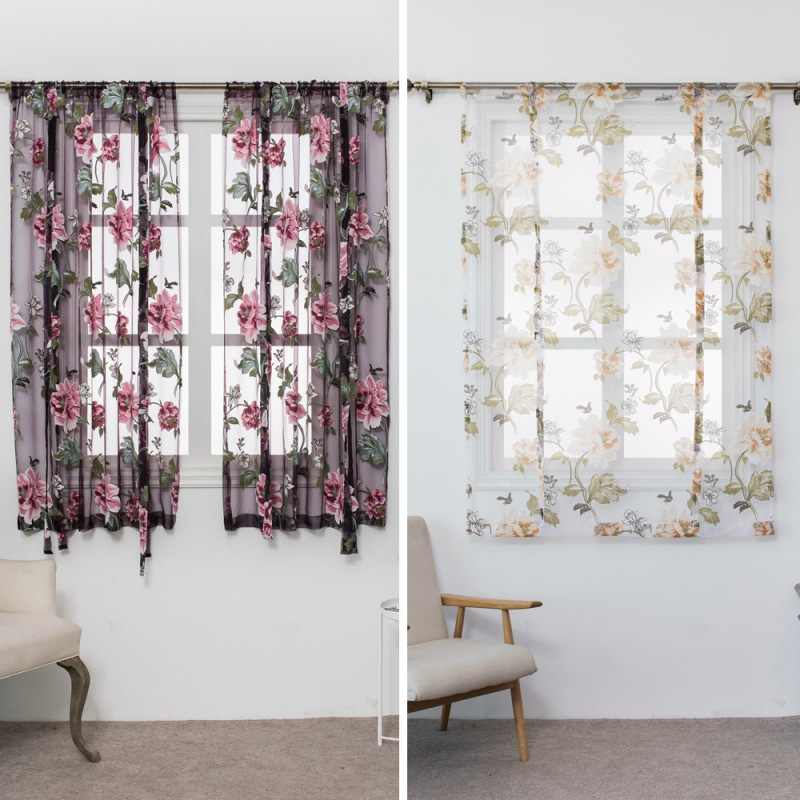 Butterfly Flower Type Roman Short Curtains Use for Living Room Kitchen Burnt-out Flower Tulle Semi-shading Curtains