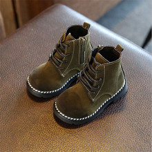 2017 Autumn Winter Children Boots Girls Boys Leather Zip Rubber Martin Boots Fashion Baby Boy Girl shoes For Kids Boots