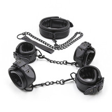 Buy PU Leather Collar Slave Hand Wrist Ankle Cuffs Bondage Restraints Adult Games Couples Fetish Sex Toys Women Men Gay