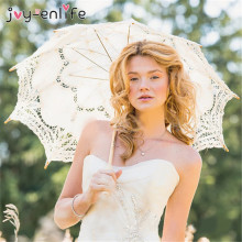 1pcs Lace Umbrella Cotton Embroidery White/Ivory Lace Parasols for Wedding Pics,DIY Parasol Umbrella Party Supplies