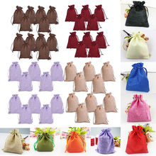 100pcs/Pack Vintage Drawstring Jewelry Pouch Hessian Jute Burlap Jute Wedding Favor Gift Bag