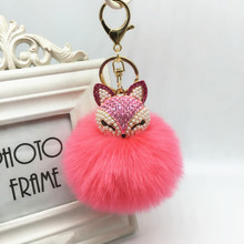 Inlay Rhinestone Colors Fur Pompom Car Keychain Fox Fur Ball with Artificial Key Chain Cool gifts Key Women 17 Colors