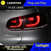 HLC For vw golf 6 taillights 2009-2013 R20 model For VW golf MK6 led rear lights car styling cover drl+signal+brake+reverse(China)