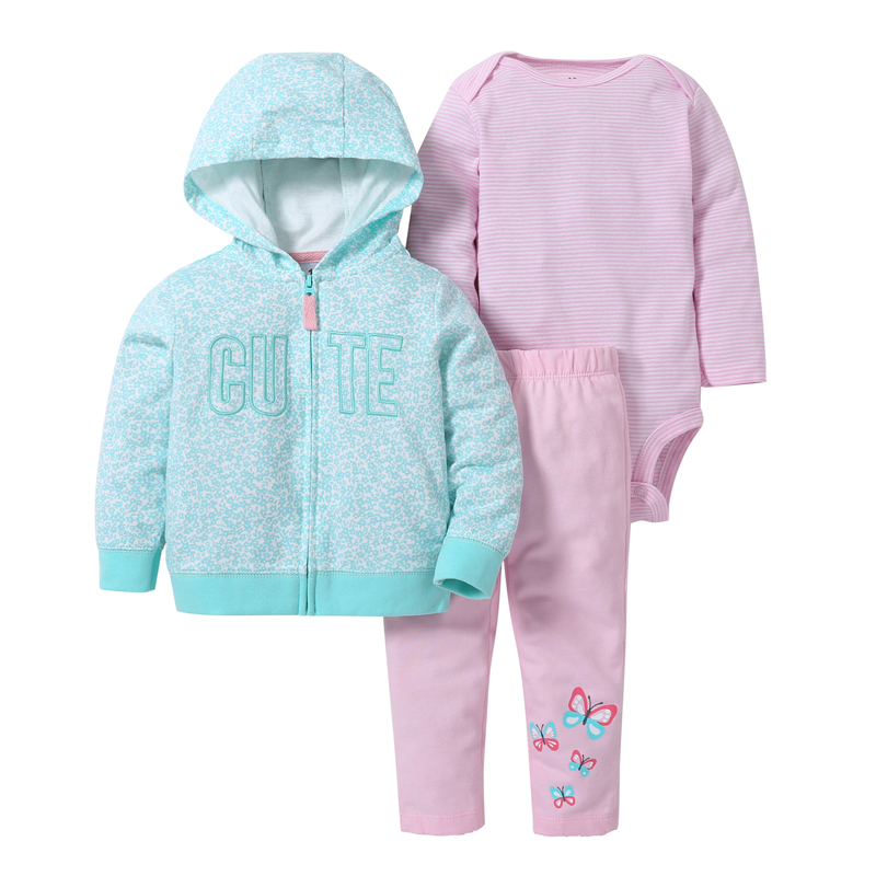 spring autumn baby girl clothes cute letter print long sleeve hoodies jackets&coat+romper+butterfly pants BABY BOY clothing set