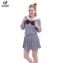 ROLECOS Japanese School Girl Uniform Color Gray Long Sleeve Sailor Top with Pleated Skirt Sexy Sailor Uniform