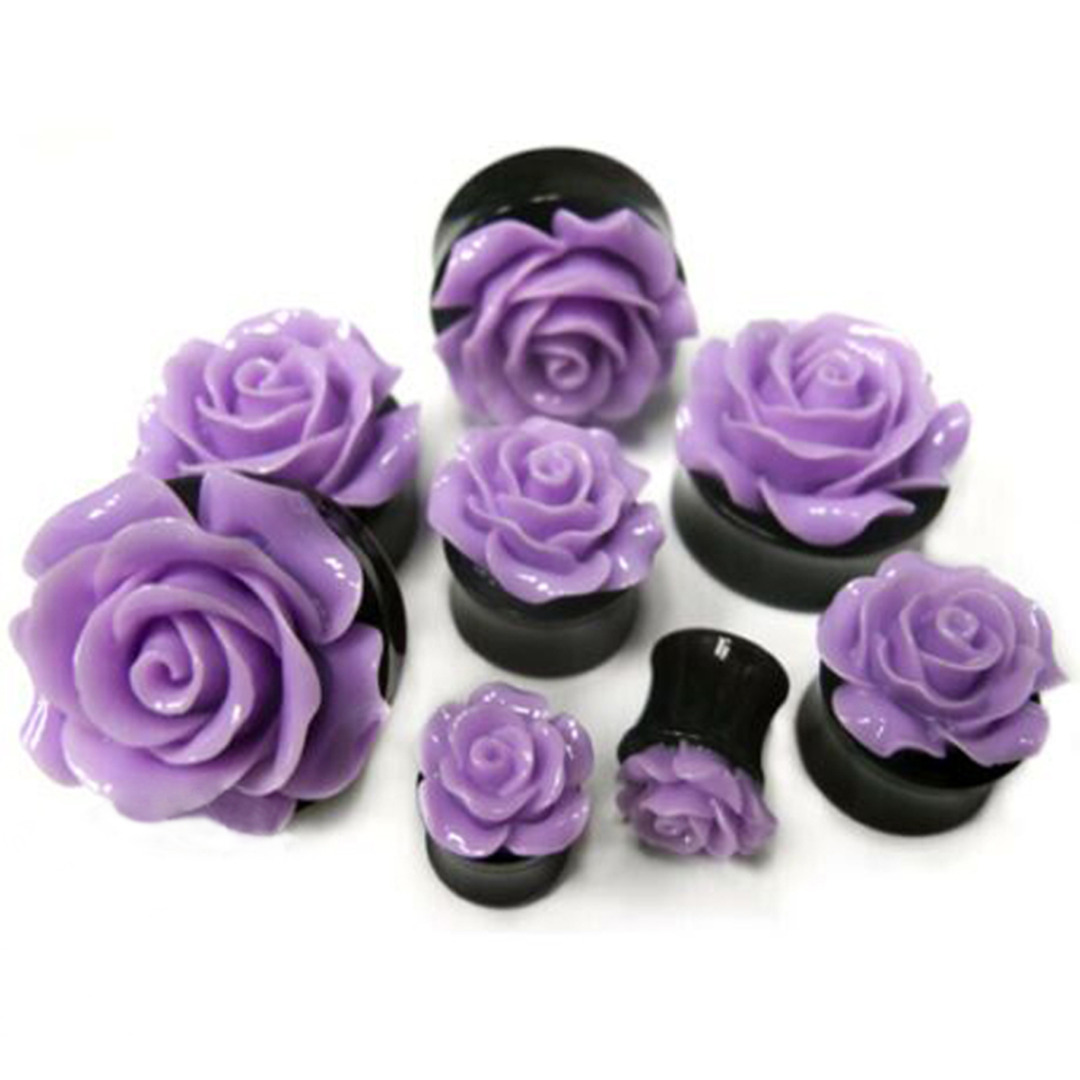 1Pair Rose Acrylic Double Saddle Ear Plugs Fashion r Ear Gauge Plugs Tunnels Stretcher Expander For Women Jewelry 8mm-25mm