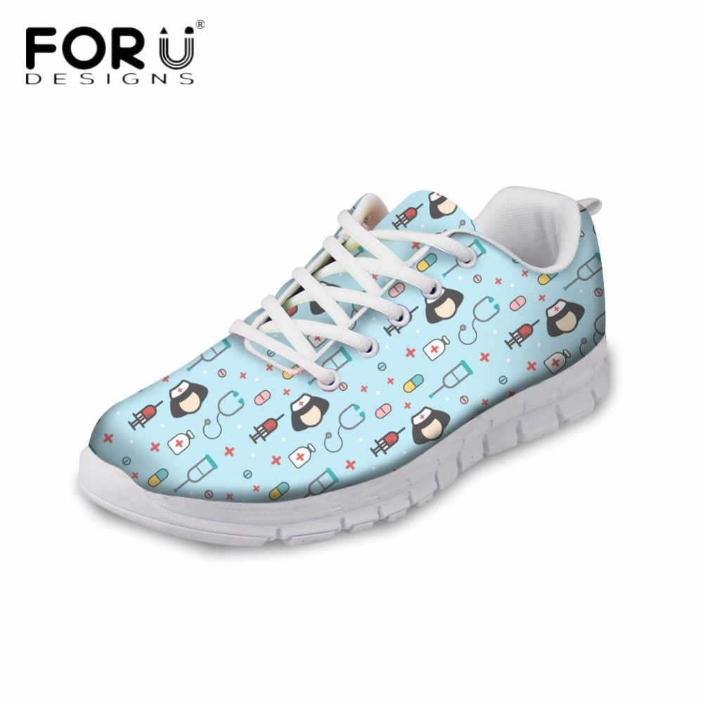FORUDESIGNS Cartoon Cute Nurse Printed Women Casual Flats Sneakers Fashion Womens Comfortable Breathable Shoes Flat Woman 2018 <br>