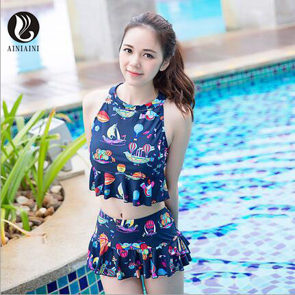 Floral Two-Pieces Swimsuits Women Padded Backless Halter Swimsuits Lotus Leaf Hem Skirt Bikini Conservative Maillot de Bain pd97<br>