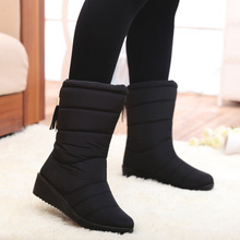 New Winter Women Boots Mid-Calf Down Boots 암 방수 숙 녀 눈 Boots Girls Winter Shoes Woman 봉 제 Insole botas 보낸 Mujer(China)