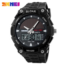 SKMEI Brand Solar energy Men Sports Watches Multifunctional Outdoor Military LED Watch Fashion Digital And Analog Wristwatches(China)