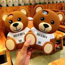 3D Cute Cartoon Teddy Bear Soft Silicone Phone Cases Back Cover Shells For iPhone 4/4s/5/5s/SE/5C/6/6s/6 Plus/6s Plus/7/7 Plus