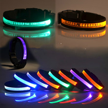 Pets Dogs Cat Nylon Night Safety Collar Light Night Up Bright Flashing LED Hight Quality Adjustable Collars Wholesales 7 Color