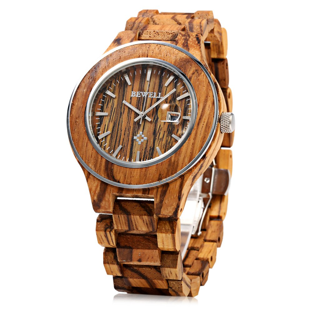 Bewell Watch Men Zebrano Wood Japan Movtment Quartz Watches, Male Fashion Waterproof Watch, Casual Calendar Watch relogio<br>