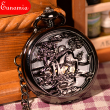 Black Round Chinese Legendary Kirin Cool Fashion Arabic Numerals Mechanical Pocket Watch Wholesale PW136(China)