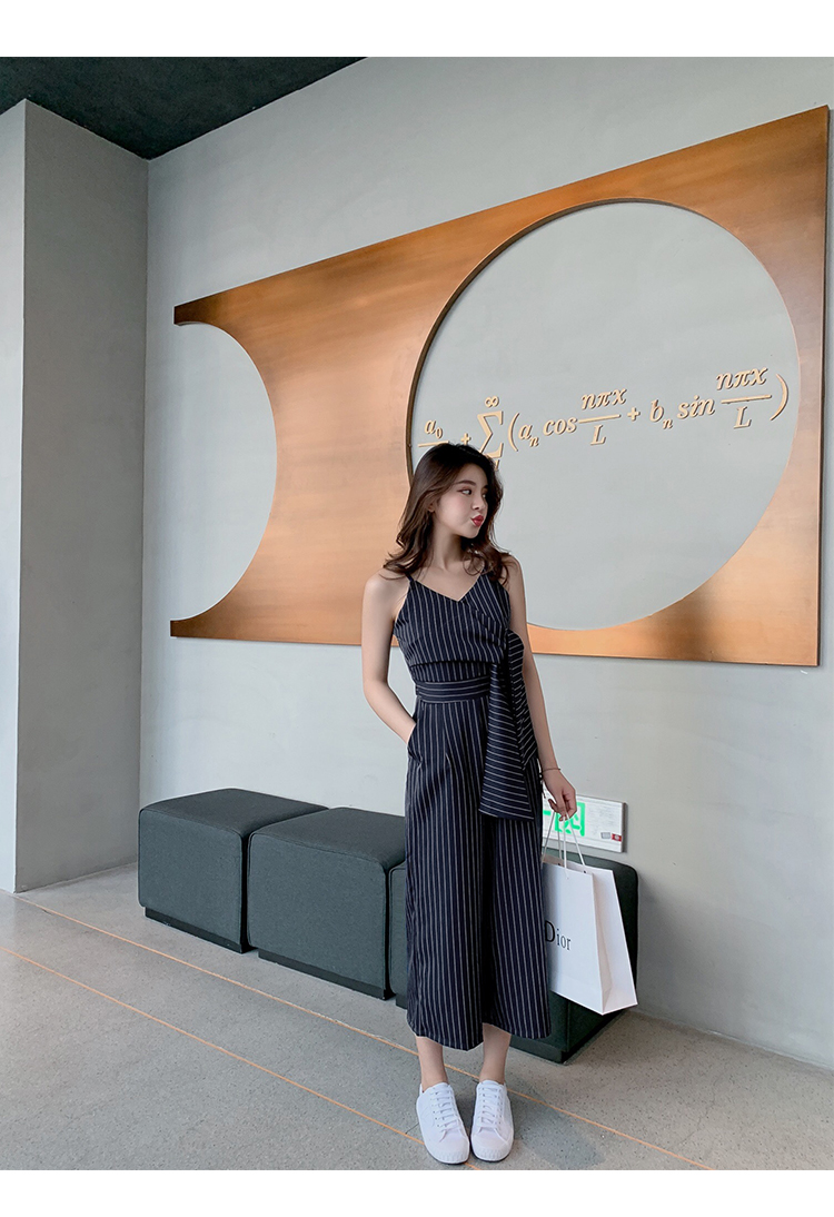 Sling Off Shoulder Sleeveless Striped Jumpsuit 2019 New Fashion V-Neck High Waist Nine Points Wide Leg Jumpsuit Summer 32 Online shopping Bangladesh