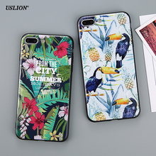 USLION Luxury Flower Art Paint Phone Case For iPhone 7 Plus Slim Fresh Soft TPU Cases Back Cover Coque For iPhone7 Plus(China)