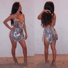 Sexy Fashion Women Party Dress Hollow Out Deep V Neck Sequined Dress Backless Metal Neck Halter Sleeveless Low Cut Mini Dress #1