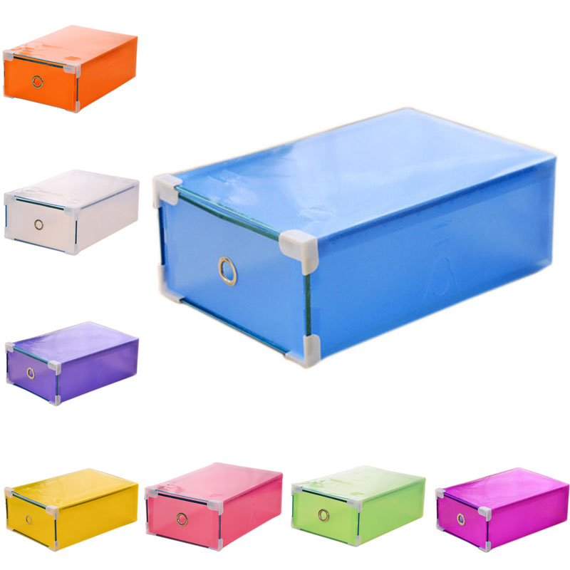 Shoes Storage Box Plastic Foldable Translucence Drawer Storage Organizer Container Case Shoe Boxes -46(China (Mainland))