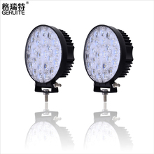 2pcs/Lot 72W Round Waterproof LED Work Light  Truck Driving Lamp Floodlight Offroad Light For ATV SUV Boating Hunting w/ bracket