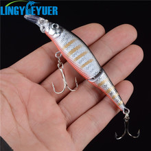 New 1pcs 2 Sections Fishing Minnow Lure Artificial Bait Treble Hooks Crankbait Fishing Tackle