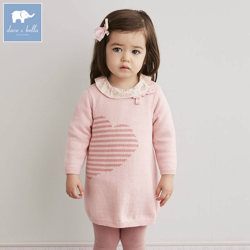 DB5532 dave bella infant baby girls princess dress kids fashion wedding birthday dress children toddle knitted sweater dress<br>