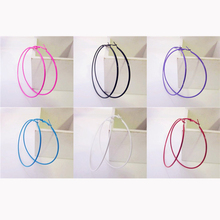 Colorful Sexy Fascinating Big Circle Girls Fashion Hoop Earrings for Women Trendy Piecing Jewelry Diameter 6 Centimeter