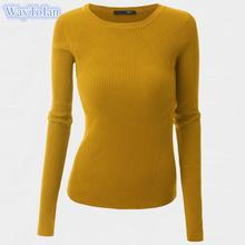 Women Sweater Pullover Basic Knitted Tops Solid Crew Neck Essential Jumper Long Sleeve Ribbed Sweaters Autumn Winter(China)