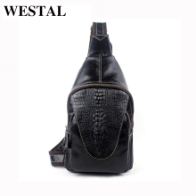 WESTAL 100% Genuine Leather Men Bags Hot Sale Alligator Pattern Man Pack Vintage Men Messenger Bags Crossbody Shoulder Bag 8082