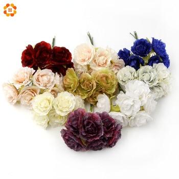 30PCS DIY Silk Artificial Flowers Bouquet For Home Wedding Party Scrapbooking Decorative Wreath Fake Flowers 9 Colors
