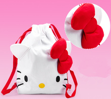 Children Girl's  Backpack ; 42*34CM Lady Girls & Adult Hello Kitty Backpack With Back String Shoulder BAG Pouch