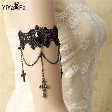 YiYaoFa DIY Gothic Jewelry Lace Arm Accessories Women Arm Bangles Handmade Summer Fashion Girl Party Jewelry AT-20