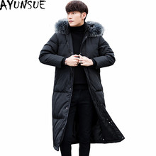 AYUNSUE Men's Down Jacket Black Mens White Duck Down Coat Male Hooded Fox Fur Collar Coats Long Jackets Chaqueta Hombre WXF145