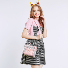 2017 Summer Pink Women Composite Bag Set For Beach PVC Clear Transparent Bags Shoulder Small Ladies Clutch Messenger Handbag(China)
