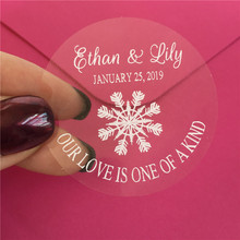 Snowflake Wedding candle Stickers Personalized winter marriage favor labels 90 pieces 5 cm gifts tags(China)