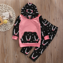 2pcs suit !!Toddler Kids Girls Outfits Floral Hoddie T-shirt with big pocket +Pants winter autumn Set Clothes(China)