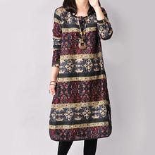 2016 Autumn and Winter Vintage Plus Size Long Sleeve Printed Ethnic Loose Cotton 3 Colors Linen Women Dress M-XXL size
