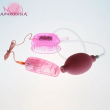 Pleasure Pump - Pink Multi-speed vibration Butterfly Clitoral Pump sex toys for couples(China)