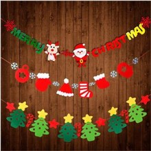 DIY 3m Felt Fabric Flags Snowflake Santa Clause Tree Merry Christmas Floral Bunting Banners Home Shop Market Room Decoration