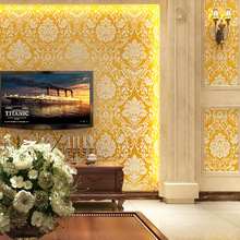 Cheng Shuo Damascus nonwoven flocking 3D European wallpaper background TV shop