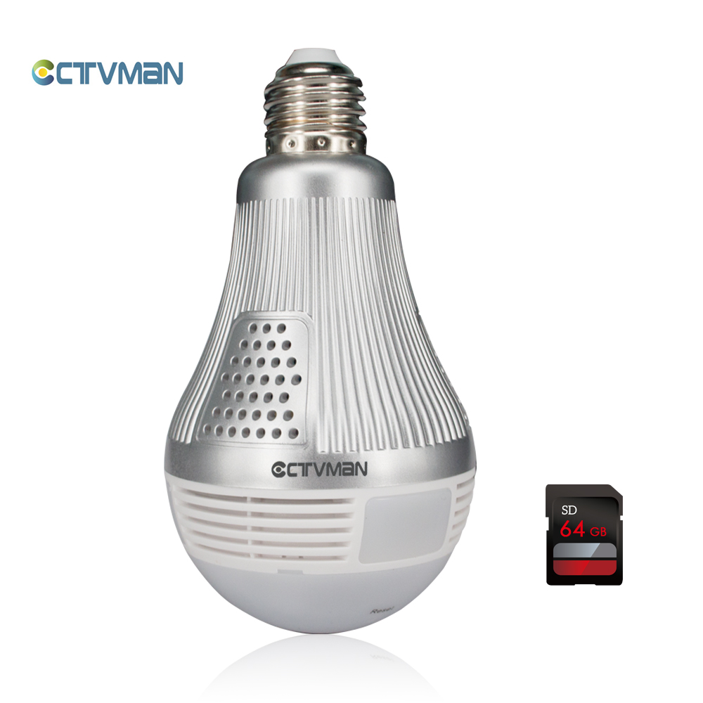 01CTVMAN 3mp 360 Panoramic Bulb Light Led Lamp Camera Wifi with 64gb TF Card Fisheye Full View Surveillance CCTV Security Mini Cam