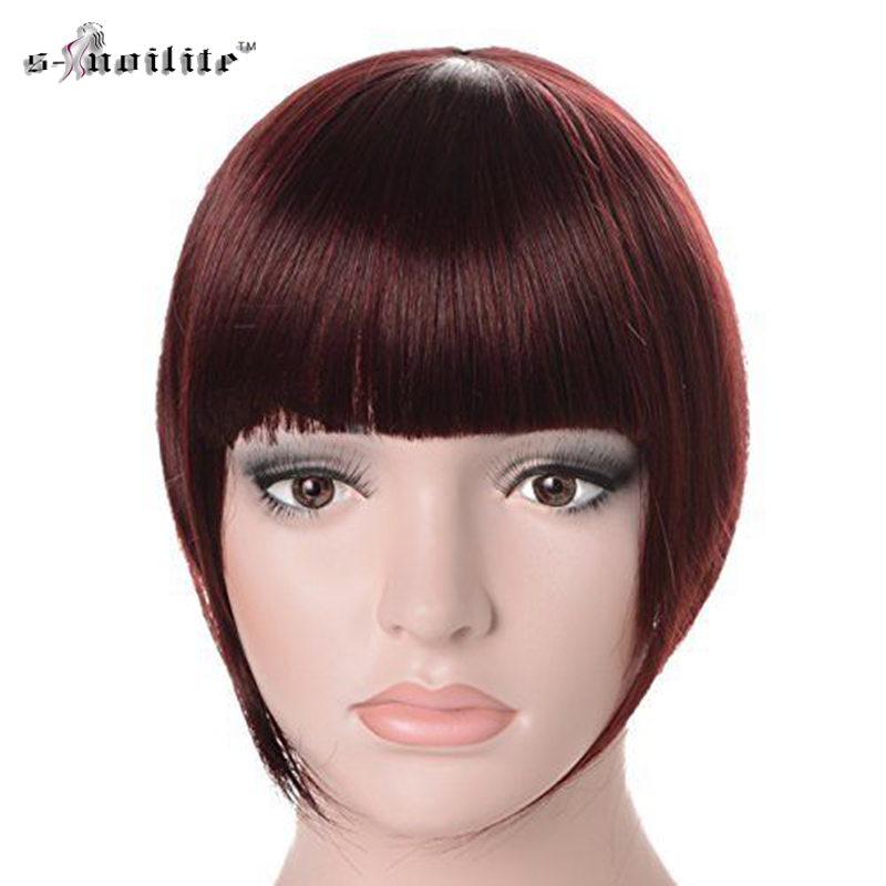SNOILITE Women Synthetic Clip Bangs Fringe Front Hair Extensions Brown Black Blonde Dark Auburn One piece Hair piece