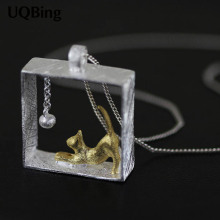 New Arrivals Drop Shipping 925 Sterling Silver Necklaces Rectangle Cat Pendants&Necklaces Jewelry Collar Colar de Plata