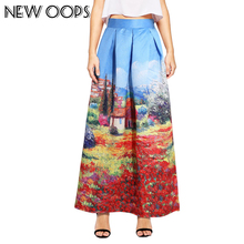 NEW OOPS Long Skirt For Muslim Vintage Painting Women Skirt 2017 Casual Pleated Flared Ball Gown Maxi Skirt With Pocket 141219(China)