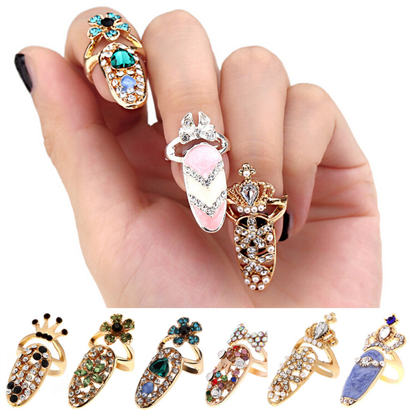 1PC Lady Girl Unique Sweet Nail Ring Knuckle Rings Statement Jewelry Crystal Rhinestone Flower Crown Finger Tip Fashion