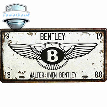 "Vintage Car Plate ""WALTER OWEN BENTLEY"" Wall Art Craft Vintage Iron Metal Painting for Bar Decor Beer Wall Metal Beer Sign"